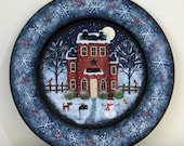Christmas Folk Art, Hand Painted Plate, Primitive Winter Scene, country red saltbox house, snowman, dog, cat, snowflakes, MADE TO ORDER