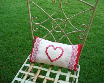 Romantic Red Heart Button & Lace Pillow by WeeWoollyBurros