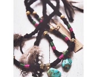 ECTN-01, handmade ethnic Tibetan style crochet necklace/bracelet/ankle with genuine turquoise.