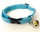 Adjustable Cat Collar Light Blue with Bell