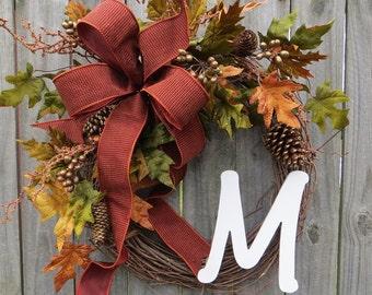 Fall Monogram Grapevine Wreath, Fall Wreath, Autumn Wreath, Thanksgiving Wreath, Elegant Halloween Wreath, HornsHandmade
