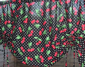 "TIE-UP Valance CHERRIES on Dots Print  Valance Mint or Black Widths 40"" 50"" 60"""