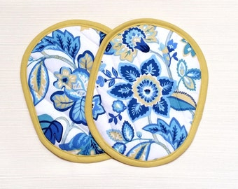 Pot Holders Quilted Blue Yellow Floral--Ready to Ship