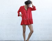 BIG SALE Embroidered Tunic Dress , Red.