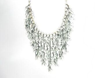 Bead Bib Necklace. Teardrop Semi Clear Glass. Runway Jewelry. Handmade Lampwork Beads. Unique 1960s Vintage Statement.