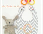 Baby Bib Boy or Girl Infant or Toddler Gray Grey Chevron with Monogram Coral Gold Baby Shower Gift Reversible Infant Bib New Mom Gift