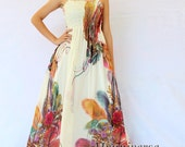 Plus SIze Maxi Dress Wedding Gown Ivory Bridesmaid Dress Prom Summer Sundress Floral Evening Dress