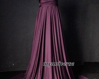 Antique Fuchsia Bridesmaid Dress Infinity Dress Wrap Formal Dress Jersey Wedding