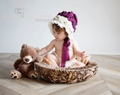 Vintage Style Baby Girl Photo Prop Burgundy Roses