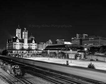 Black and white of Union station and Nashville Skyline