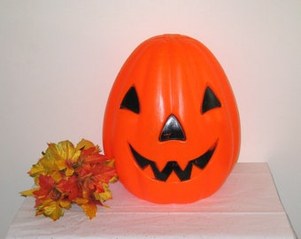 "Vintage 1968 Large Empire Plastics Lighted Blow Mold Halloween Jack-O-Lantern / NEW 46"" CORD"