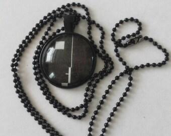 Sale was 16uk now 10uk Blacktone Bauhaus (the band) face logo cabochon necklace blacktone ball chain.