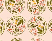 Tiger Lily Flower Wreaths in Blush Pink, Heather Ross, Windham Fabrics, 100% Cotton Fabric, 40928-4