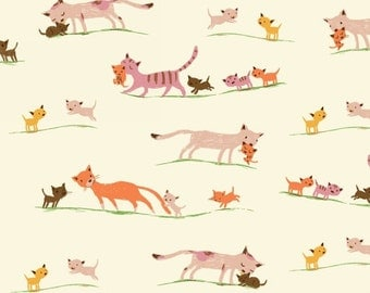 Tiger Lily Marching Cats in Cream, Heather Ross, Windham Fabrics, 100% Cotton Fabric, 40931-5
