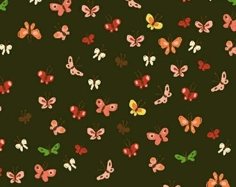 Tiger Lily LAWN Butterflies in Mud, Heather Ross, Windham Fabrics, 100% Cotton Lawn Fabric, 40936-8