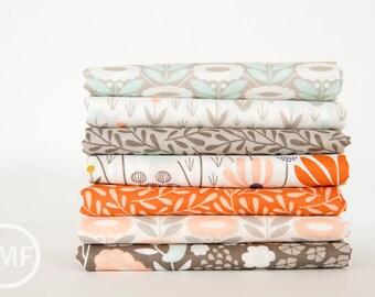 Morning Song in Morning Coral Fat Quarter Bundle, 7 Pieces, Elizabeth Olwen, Cloud9 Fabrics, 100% GOTS-Certified Organic Cotton Fabric