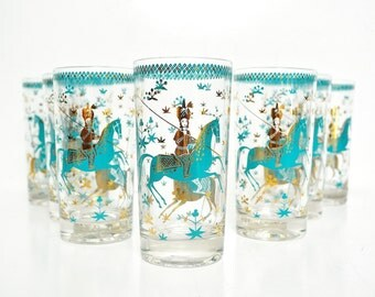 Set of Eight Turquoise and Gold Tumblers - Mid-Century Barware