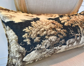 Pillow Cover Home Decor Lumbar Deer Woodland Toile Blue