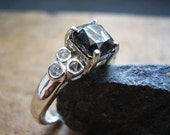 Endora - Black Moissanite & White Topaz Ring - 925 Sterling Silver Ring - Alternative Engagement Ring - Unique Unusual Wedding Ring - OOAK