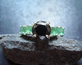 Elphaba - Genuine Black Moissanite & Emerald Ring - 925 Sterling Silver Ring - Unique Engagement Ring - Round Cut Black Moissanite