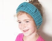 TODDLER EAR WARMER : teal ear warmer, headband with bow toddler and women's sizes