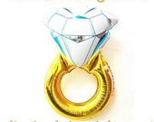 Large Diamond Engagement Ring Mylar Balloon for Bridal Shower or Engagement Party