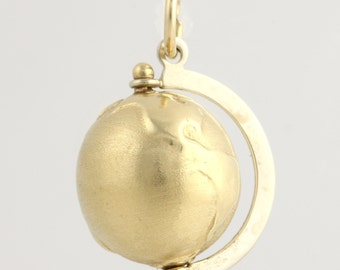Gold Globe Charm / Pendant - 14k Yellow Gold Fine Estate Moves Education Gift L3329