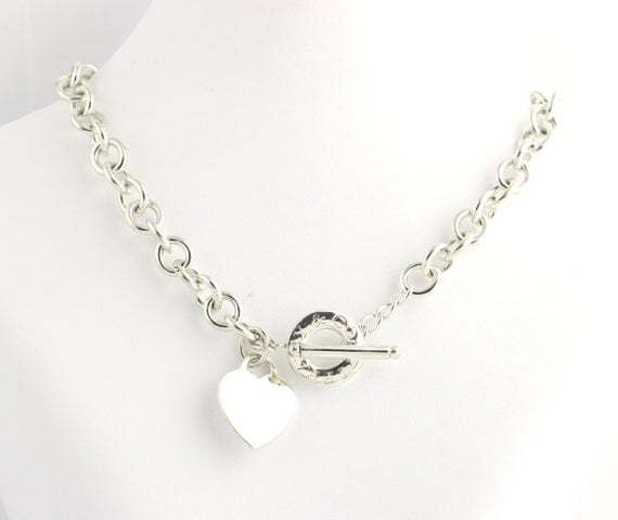 Tiffany And Company Toggle Necklace: Tiffany & Co. Toggle Heart Chain Necklace 16 Sterling