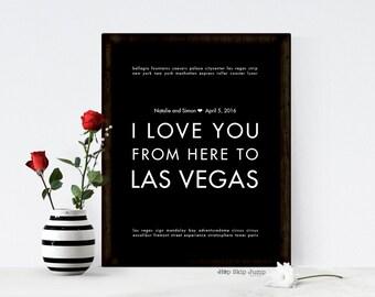 Las Vegas Wedding Gift, Las Vegas Art, Travel Poster, Wall Art, MADE TO ORDER