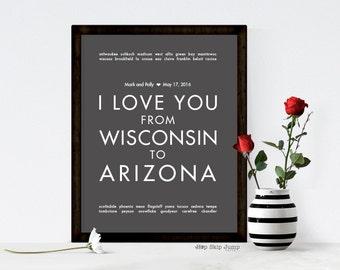 Custom Wedding Keepsake - 1st Anniversary Gift - Wisconsin to Arizona - Gift for Couple