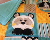Crib Quilt Toddler Blacket Zoo Animals Fannel Backed