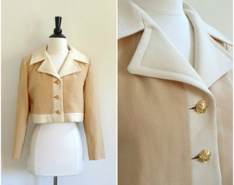Vintage Carlson Originals tan and beige cropped jacket / 1960's fitted blazer with gold buttons