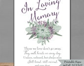 Printable In Loving Memory Succulent Sign - Memorial Sign with water color flowers - 5x7 & 8x10 - Wedding Signage - Instant Download