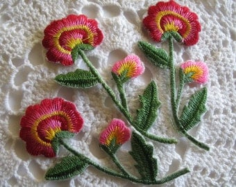 3 RED EMBROIDERED FLOWER - Iron On