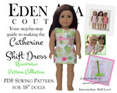 """Eden Ava Couture Catherine Shift Dress Sewing Pattern for 18"""" American Girl Doll"""