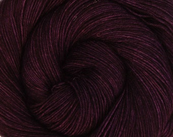 sock yarn BLACKBERRY hand dyed sw merino wool nylon fingering weight