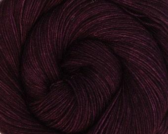 basic sock yarn BLACKBERRY hand dyed sw wool nylon fingering weight 3.5oz 460 yards