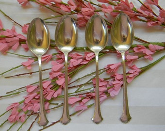 SPOONS, 4 Vintage Sterling Towle CHIPPENDALE Teaspoons, 1937