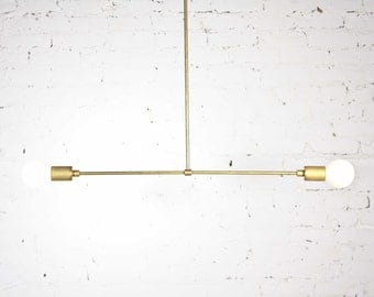 Perchoir - Mid Century Modern Brass  chandelier / Raw solid brass