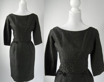 Vintage 50s Dress, 1950 Black Dress, Retro 50s Cocktail Dress, Large 50s Dress, Floral Black Dress, Retro 50s Secretary Dress, Rockabilly