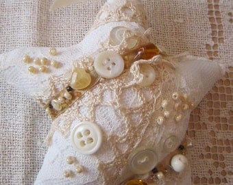 Gold and White Shabby Star