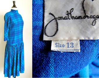 Vintage 50s Wool Dress, Blue Plaid Dress, Drop Waist Dress,  Blue Dress, by Jonathan Logan