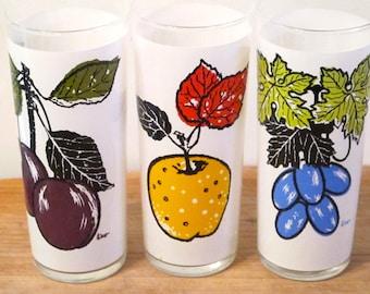 Vintage Fruit L.Elliot Design Tall Ice Tea Drinking Glasses