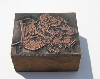 Vintage Copperplate Print Block: Copper on Wood Letterpress Print Block, Humorous Business Exec