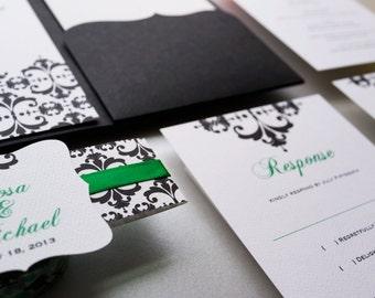 Emerald Green and Black Wedding Invitation. Modern Invitation- Sample