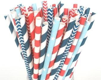 Nautical Paper Straws Red White Blue Paper Straws 1st Birthday / Baby Shower Nautical Wedding