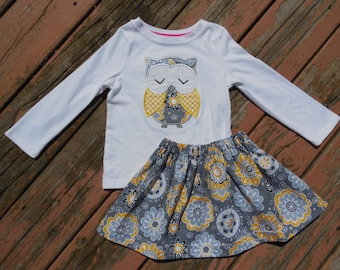 Girl's Toddlers Skirt and Shirt Outfit - Personalized Gray and Mustard Floral Skirt with Owl Applique