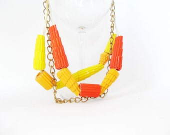 Paper bead necklace, sale, layering necklace, gold chain necklace, orange jewelry, statement necklace, cool necklace, funky quirky necklace
