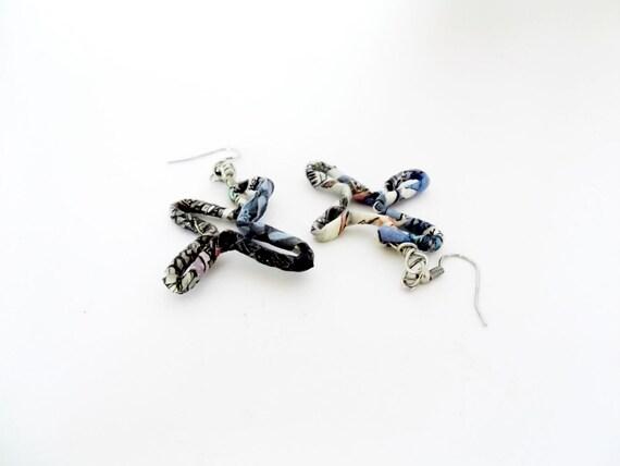 Freeform earrings, wire wrapped earrings, wire earrings, wire jewelry, paper jewelry, recycled paper earring, statement earring, eco jewelry