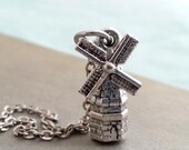 Silver Windmill  Necklace. Windmill Pendant. Layering Layered. Windmill Pendant. Windmill Charm.